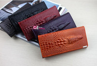 Wholesale High quality Genuine Leather Crocodile pattern Wallet Women Long Style Cowhide Purse and r