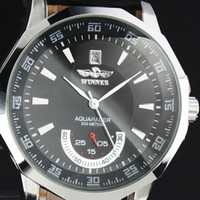 Wholesale WM128 New Men Black Dial Luxury Style Aviator Automatic Self Wind Up Wrist Watch