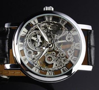 Wholesale winner brand silver tone Skeleton Hand winding Mechanical Mens men watch leather band free ship