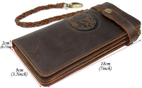 hermes saddle cover - Chain Leather Wallet, Long Style Vintage Waxed Leather Purse, 5 ...