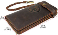Free shipping, Chain Leather wallet, long style vintage waxed...