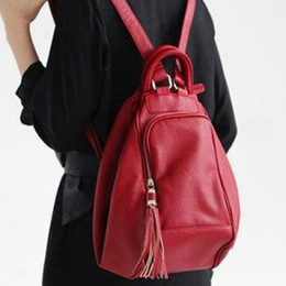 Wholesale Best selling high quality women s leisure backpack fashion leather red brown black travelling backpa