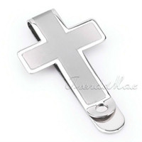 Wholesale MENS Silver Simple Cross L Stainless Steel MONEY CLIP Cash Holder Slim Hot KM28
