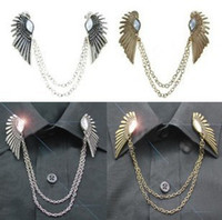 Wholesale Popular Gemstone Collar Clip Gold Silver Wings Clip On Collar Chains Collar Tips Colors Mix