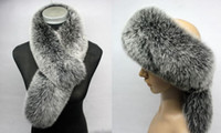 Wholesale Gorgeous on sale XL real fox fur headband scarfs scarves black