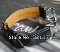 Wholesale Mens black leather Silver Skeleton Hand Wind Mechanical Watch Dress for men women Wa