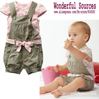 Girl 0-3 Months 2XS Baby clothes set Girl Summer T-shirt+overalls+belt baby shivering clothing Children suits baby cloth