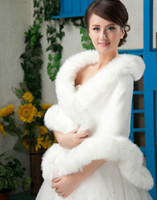 Wholesale Ivory Winter Faux Long Fur Shawl New Bridal Prom Cocktail Party Wrap Cape Wedding Accessories