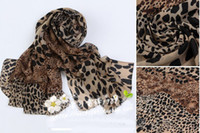 Wholesale New Woman Scarf Europe Leopard Scarf Velvet Chiffon Scarf Leopard Point Scarf Sunscreen Scarves