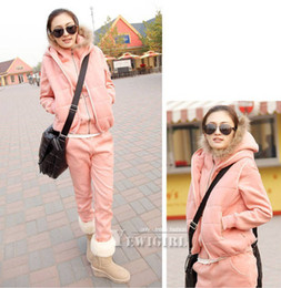 Wholesale Warm Faux new fur hoodie zipper a set sports suit sweat coat suitTracksuits M L XL