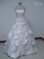 Wholesale 2012 New Wedding Ball Gown Evening dress Homecoming Sleeveless Clothing apparel White Taffeta Bows