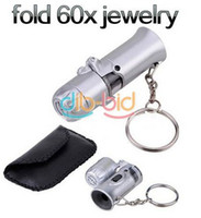 Wholesale Fold Mini Jeweller X Pocket Microscope Magnifier Loupe Glass LED Light UV