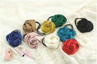 fashion hair circle - Fashion hair accessories satin fabric hair band candy colored silk roses hair circle