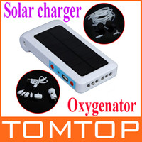 Wholesale Compact Portable Solar Power mobile charger amp Oxygenator Aerator Air Pump Oxygen Pool Pond H4831