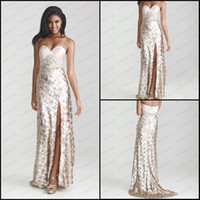 Wholesale New Sweetheart Champagne Prom Dress Sequins Lace Colorful Beads Belt Side Split Evening Dress P6624