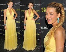 Wholesale 2013 Blake Lively Stuns In Plunging Gown At Savages Premiere Sexy Yellow Chiffon Celebrity Dresses