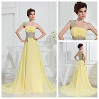 Wholesale Top Glamorous One shoulder Prom Dresses New Fishlike Hem Beaded Evening Party Dress Formal