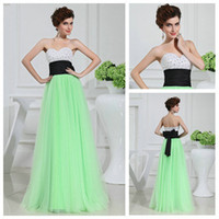 Charming White Black and Light Green Sweetheart Beaded Tulle...