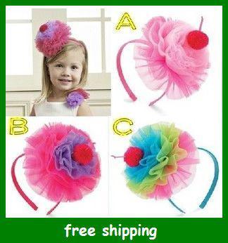 baby lace flowers hair hoop princess cake hair bands