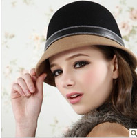 Wholesale Winter Star Style Women Patchwork Princess Belt Decorated Felt Hat bucket hat QY12112404