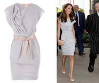 Wholesale Kate Middleton Celebrity Wrap Dresses at LAX International Airport Short Reception Party Gowns
