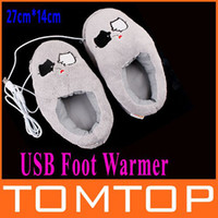Wholesale Cute Grey Piggy Plush USB Foot Warmer Shoes Electric Heat Slipper drop shipping xmas gift C1295