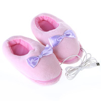 Wholesale Plush USB Foot Warmer Shoes Soft Electric Heating Slipper with Cute Bowknot Pink C1519
