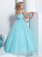 Reference Images Floor-Length Tulle Blue Ball Gown Little Girl Pageant Dresses Double Strapped Beaded Pleated Ruched Tulle Dress 13315