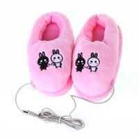 Wholesale Cute Pink Rabbits Plush USB Foot Warmer Shoes Soft winter Electric Heating Slipper drop ship C1520