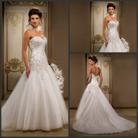 Reference Images drop waist - 2015 Wedding Dresses with Beaded Embroidery Sweetheart Low Back Dropped Waist Court Train Ruffled Tulle Bridal Gowns A Line Wedding Dress