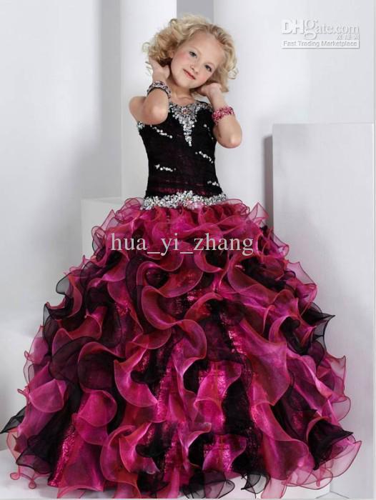 Black Burgundy Ball Gown Little Girl Pageant Dresses Sweetheart ...