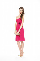 Cheap 2014 New Short A-line Sweetheart Crossover Ruched with Flower Knee-length Chiffon Bridesmaid Dresses