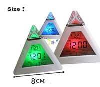 Wholesale LED color change Digital Alarm Clock Triangle Pyramid music Calendar Voice