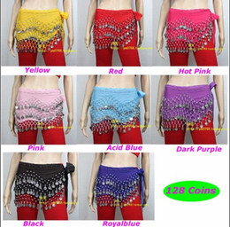 Wholesale 3 Rows Chiffon Belly Dance Dancing Hip Skirt Scarf Wrap Belt Silver Coins