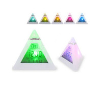 triangle music - LED color change Digital Alarm Clock Triangle Pyramid music Calendar Voice