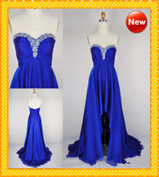 Wholesale Stock Under HOT Sale Sexy Royal Blue High Low Sweetheart Chiffon Crystal Cheap Prom Evening Bridesmaid Formal Dresses Dress Gown