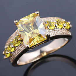 Gold Filled Radiant Cut Yellow Citrine Stone Women Cocktail Ring Size 8 GF J7517