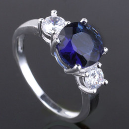 Simulated Three Round Stone Blue Sapphire Genuine 925 Sterling Silver Ring Wedding Accessories R038