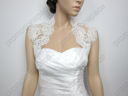 Wholesale 2013 Ivory sleeveless Alencon Lace Bolero jacket Bridal Bolero Wedding jacket Bolero Bridal Shrug