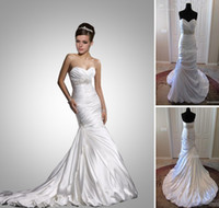 Wholesale 2011 Sexy A line Sweetheart Satin Court Strapless Wedding Dresses Beading Ruffles MG423