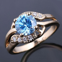 Wholesale eLuna mm Round Blue Topaz Lady Fashion Ring Size Gold Filled Band GF J7526