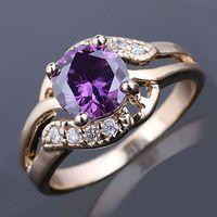 Women's amethyst - Classic mm Round Purple Amethyst Stone Lady Fashion Ring Size Gold Filled GF J7488