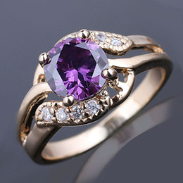 Wholesale Classic mm Round Purple Amethyst Stone Lady Fashion Ring Size Gold Filled GF J7488
