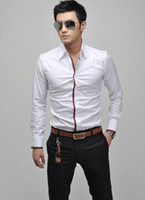Wholesale new Fashion Hot Sell Men s Casual Long Sleeved Shirt Blue Pink White Gray colro size