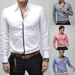Wholesale Fashion Hot Sell Men s Casual Long Sleeved Shirt Blue Pink White Gray
