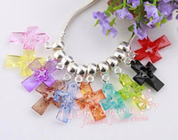 Wholesale 100Pc Mix color Transparent Plastic Cross Charm Beads