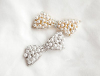 silver,gold South American Women's hair accessory gold Silver Plated Pearl Rhinestone Bowknot Hair Clip 12pcs lot women's jewelry