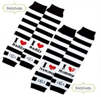 baby girl dad - socks pairs Brand I love DAD and MOM baby Leg Warmers black and white stripes XP