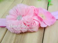 Wholesale Chiffon Flowers With Double mini rose With Hydrangea flower FOE Headbands QueenBaby