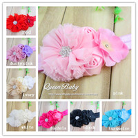 Wholesale Chiffon Flowers With Double mini rose With Hydrangea flower FOE Headbands QueenBaby